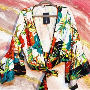New blogger sexy chic floral tropical blouse top